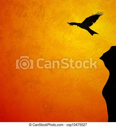 flying bird black sunrise sillhouette grunge orange illustration - csp10475527