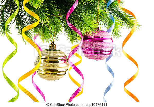Holiday christmas decoration on white - csp10476111