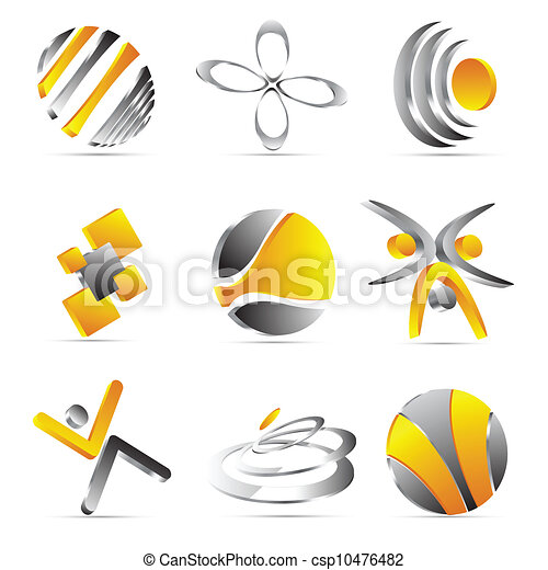 yellow business icons design - csp10476482