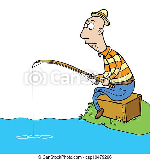 Fisherman Vector Clipart - Instant Download - csp10479266