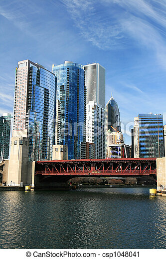 The high-rise buildings in Chicago - csp1048041