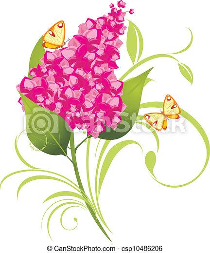 Clipart vecteur de branche lilas papillons vecteur - Dessin de lilas ...