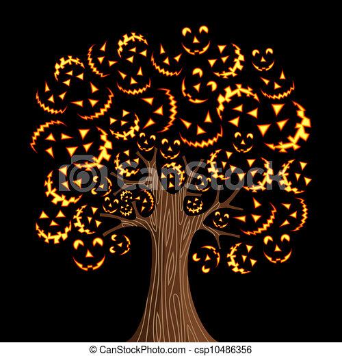 Easy Spooky Tree Drawing Halloween Horror Icons Tree