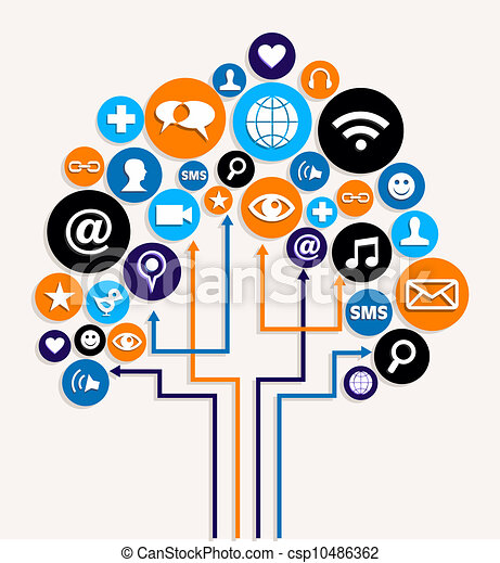 Social media networks business tree plan - csp10486362