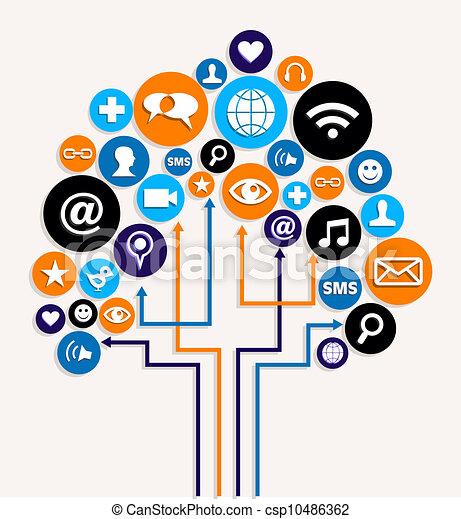 Social media networks business tree plan - csp10486362