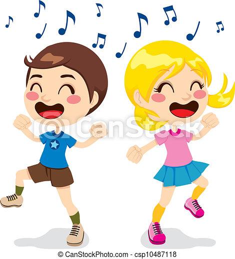 Vector Clip Art de niños, bailando - Two, niños, un, niño ... Cantando In English