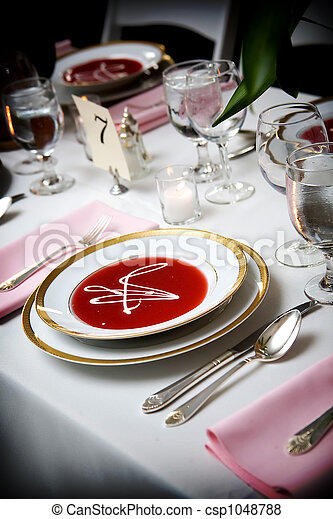 soup bowl at a wedding event - csp1048788