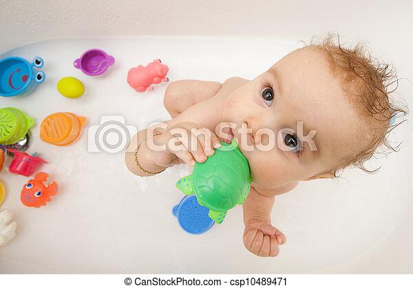 baby, Wanne, Spielzeuge, Bad - csp10489471