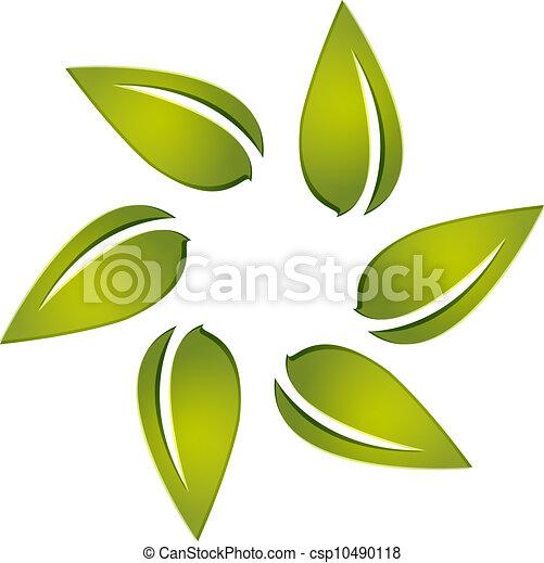 Leafs around logo vector - csp10490118