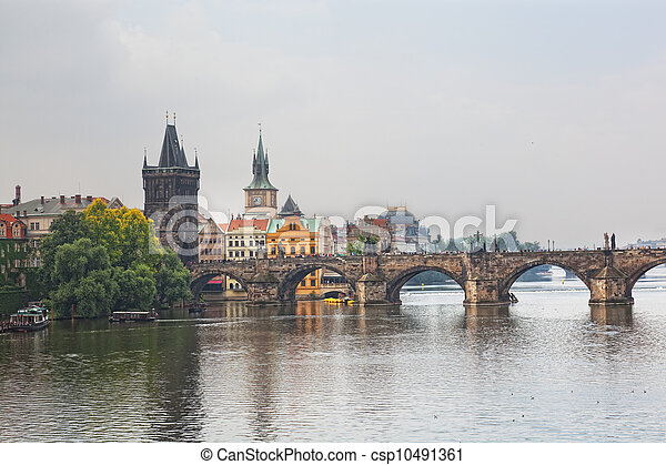 Prague, view of the Vltava River and bridges in a morning fog - csp10491361
