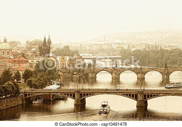 Prague, view of the Vltava River and bridges in a morning fog - csp10491478