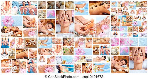 Beautiful Spa massage collage. - csp10491672