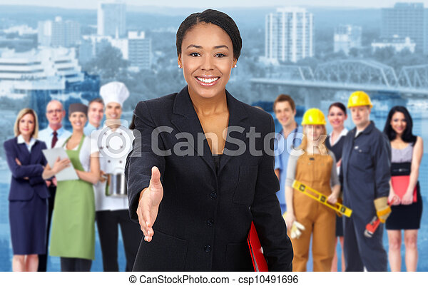 Business woman and Group of industrial workers. - csp10491696