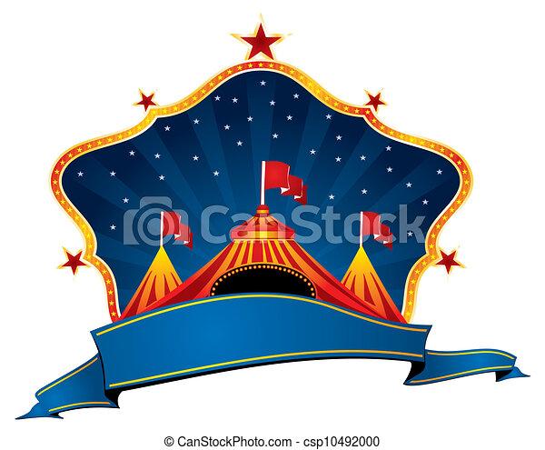 Clipart vecteur de cirque chapiteau bleu cirque cadre et ruban pour csp10492000 - Dessin d un chapiteau de cirque ...