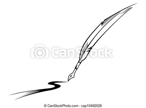 Vector - pluma, escritura - stock de ilustracion, ilustracion libre de ...