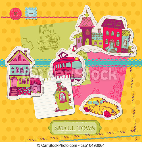 Little Town Scrap - for scrapbooking and design - in vector - csp10493064