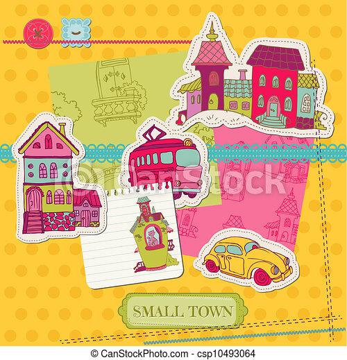 Little Town Scrap - for scrapbooking and design - in vector - csp10493064