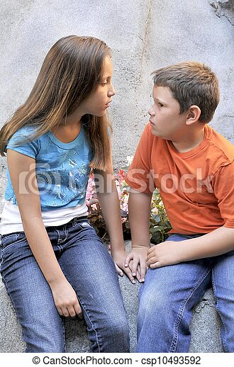 Stock Photographs of Siblings Talking - Brother and sister in ...