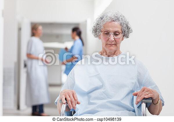 Elderly patient sitting in a wheelchair - csp10498139
