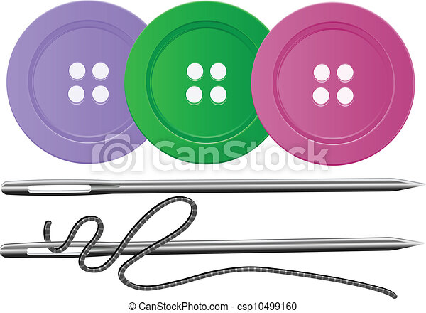 Needle & Thread,Buttons,Vector - csp10499160