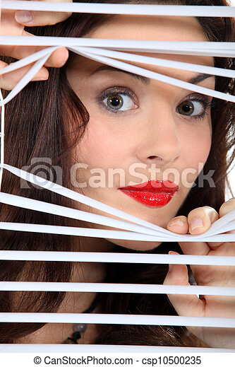 Stock Photos Of Woman Looking Through Window Blinds