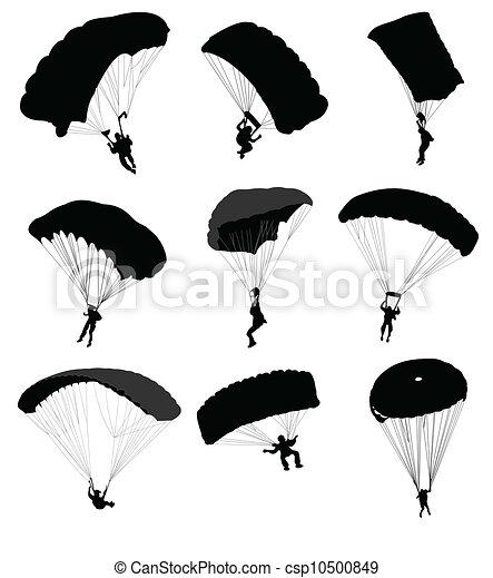 Vecteur eps de grand ensemble vol parachutistes big - Dessin parachutiste ...
