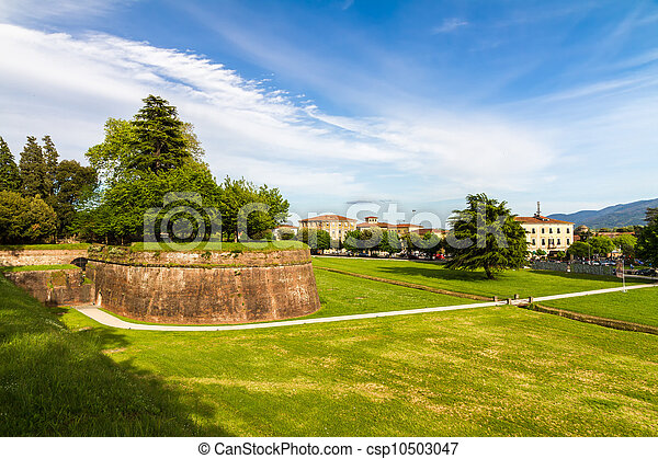 Historic town wall in Lucca, Tuscany, Italy - csp10503047