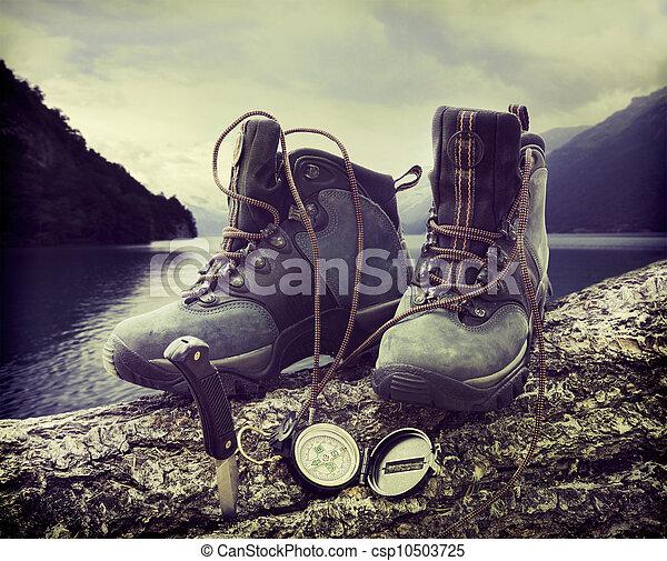 Hiking boots on tree trunk near lake - csp10503725