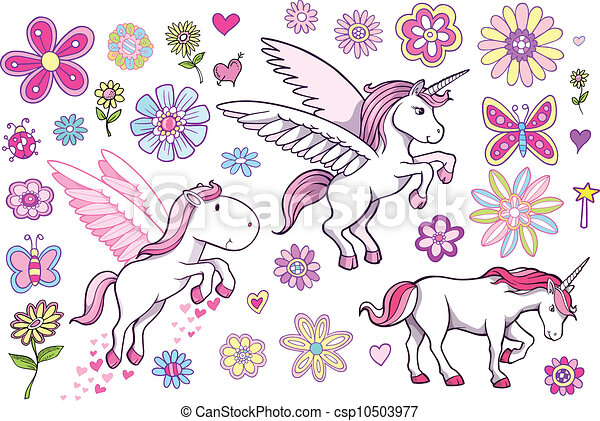 Illustrations vectoris es de conte f es p gase ensemble licorne unicorn pegasus - Comment dessiner un pegase ...