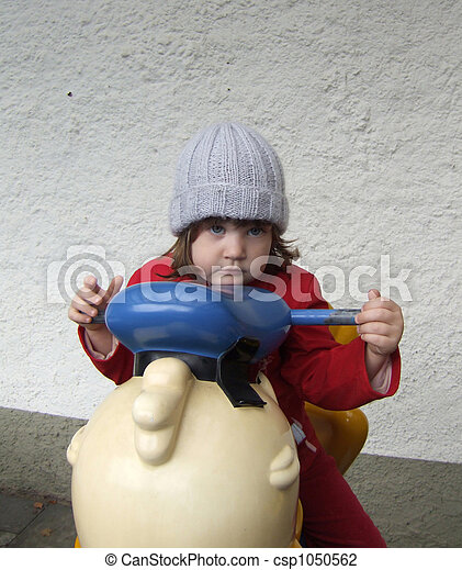 little girl with woolly hat - csp1050562