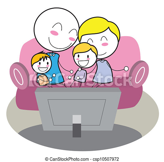 Family Watching tv Together Drawing Vector Family Watching tv