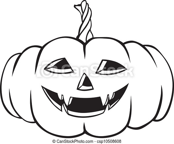Vector clipart of funny halloween pumpkins contour image for Funny pumpkin drawings