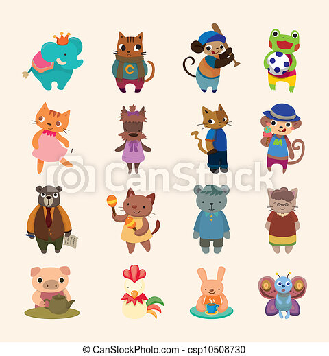set of 16 cute animal icons - csp10508730