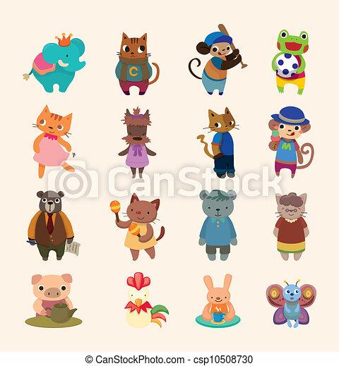 set of 16 cute animal icons - csp10508730