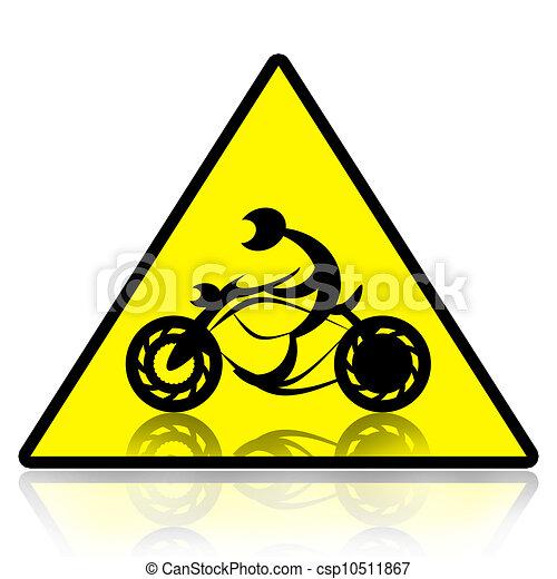 骑自行车的人, 摩托车, 黄色, 三角形, 签署, 隔离, 白色, 背景图片