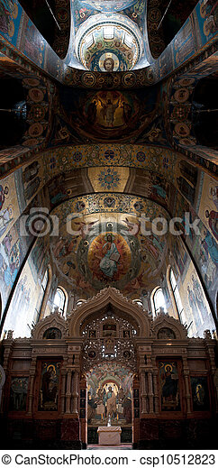The Church of Our Savior on the Spilled Blood interior panorama of the ceiling. Saint Petersburg, Russia. - csp10512823