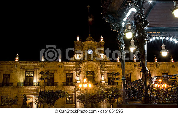 Government Palace Guadalajara Mexico at Night - csp1051595