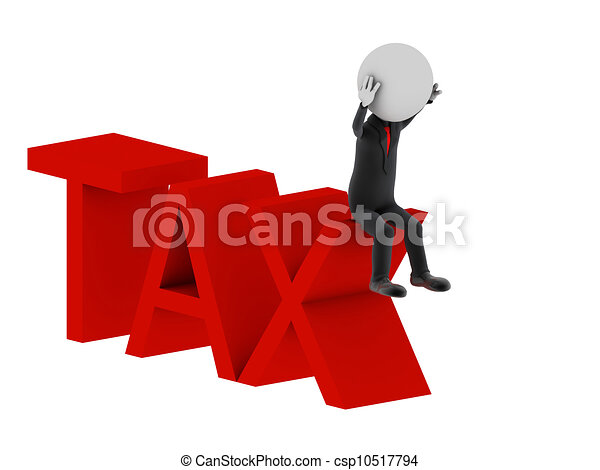 Tax. 3d illustration of human character.  - csp10517794