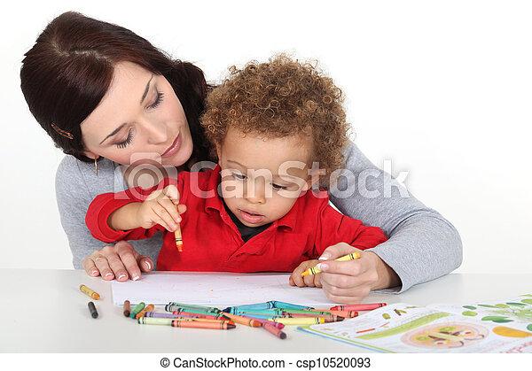 Empate, ella, madre, Cómo, niño, enseñanza - csp10520093