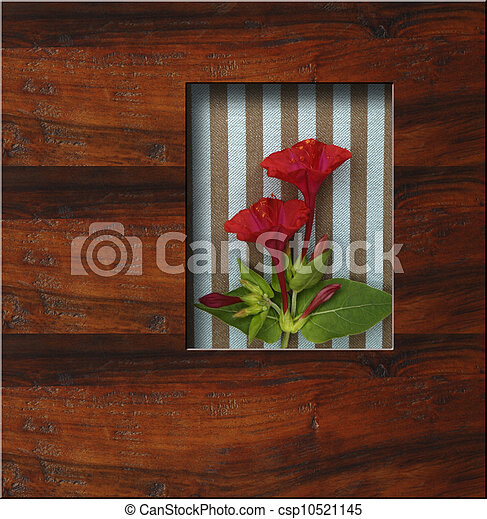 background wooden frame with fresh flowers - csp10521145