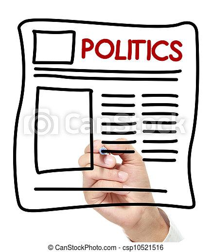 politics News hand drawn on white board - csp10521516