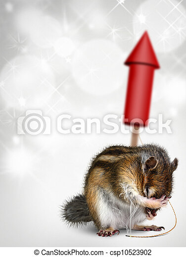 Chipmunk with fireworks, holiday background - csp10523902