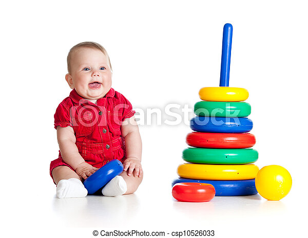 baby girl playing with big toy isolated on white background - csp10526033