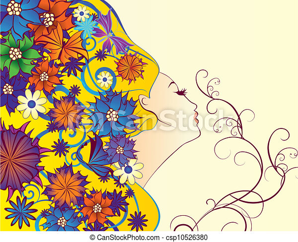 vector spring woman fantasy profile with flowers  - csp10526380