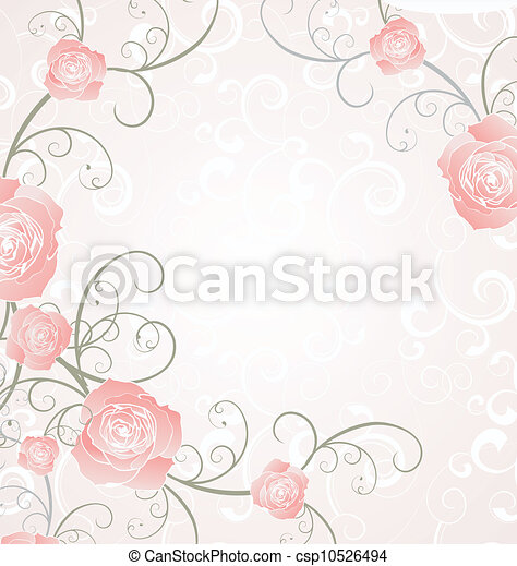 vector roses frame pink, romance love illustration - csp10526494