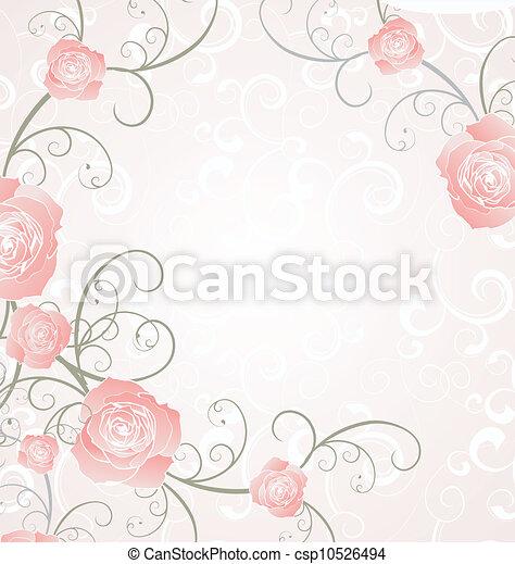 vector roses frame pink, romance love illustration - csp10526494