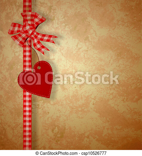 valentine's day or wedding vintage grunge paper background with red hearts - csp10526777