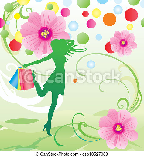 spring and summer flowers sale vector with girl with shopping bags - csp10527083