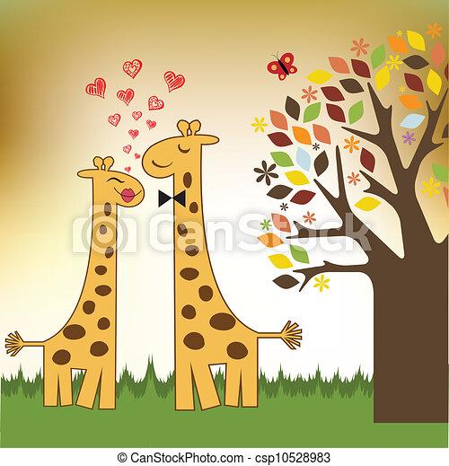 Vecteur de rigolote girafe couple amour csp10528983 - Girafe rigolote ...
