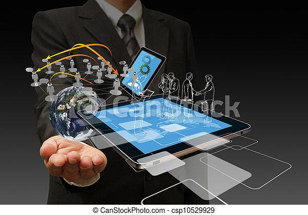tecnologia, Uomini affari, mano - csp10529929